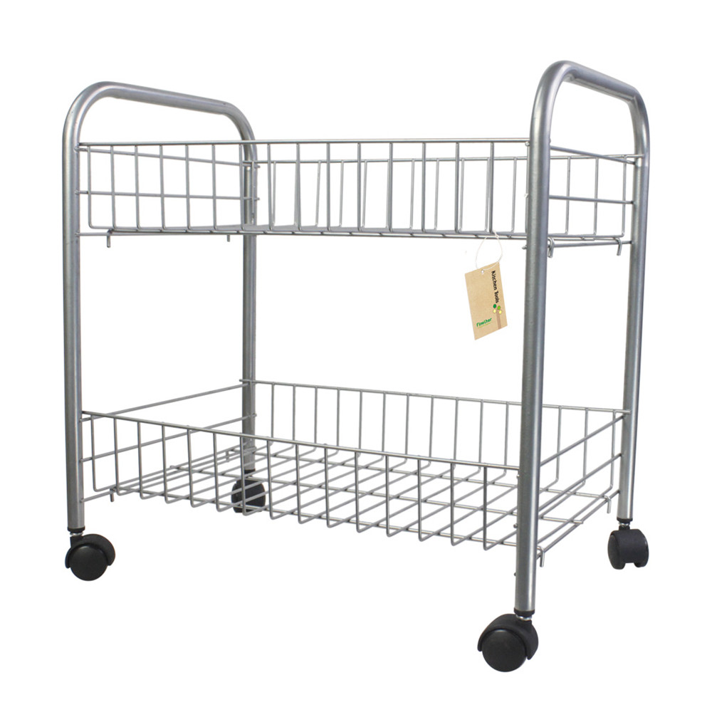 Finether 2 Tier Wire Rolling Cart 2 Shelf Wire Shelving