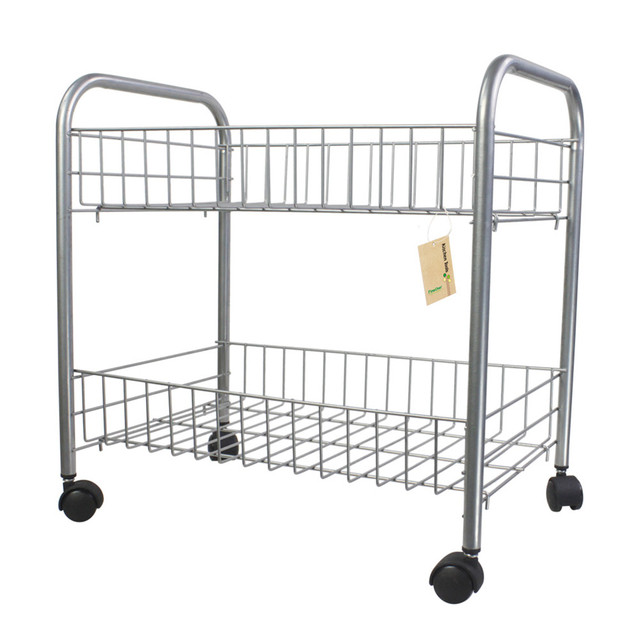 Finether 2 Tier Wire Rolling Cart Shelf Shelving Rack Shoes Books With