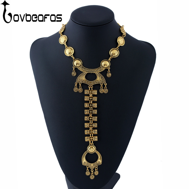 LOVBEAFAS 2018 Fashion Bohemian Statement Maxi Long Necklace Colar Vintage Collar Choker Boho Necklace For Women Fine Jewelry