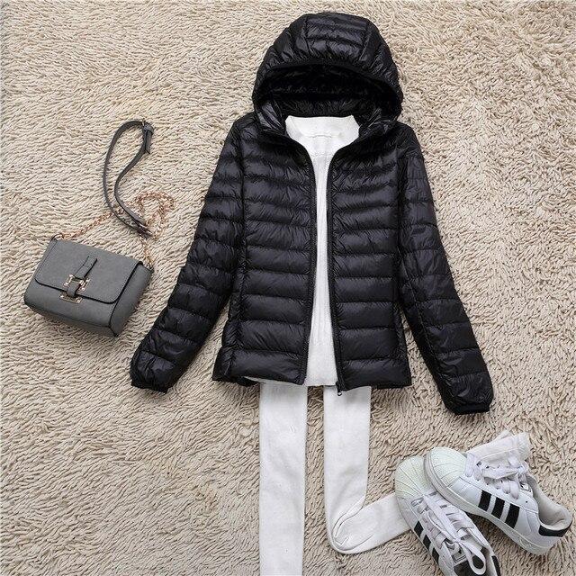 CIVICHIC Hot Fashion Woman Warm Sleek Coat Lady Short Hoody Winter Eiderdown Outerwear Soft Ultra Light Down Jacket S-XXXL DC502