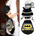 Newborn 3 Pieces Handmade Baby Boy Hat / Pant Set Newborn Baby Boy  Crochet Knit Batman With Mask Costume Halloween Clothes