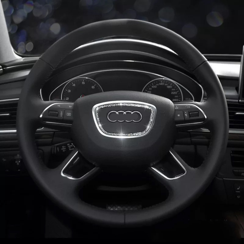 Car Styling Accessories For Audi A4 A3 A6 Q5 Q3 Car Steering Wheel Diamond Decoration Circle Stickers Auto Interior Sticker