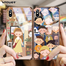 Vpower Tempered Glass Phone Case for iPhone X XS Max Gold Painted frame girl Back case Cover Retro For MAX XR