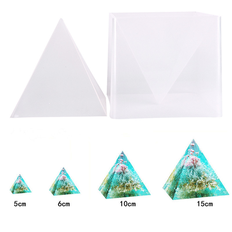 купить 1 set Pyramid Silicone Mould for DIY Decorative Craft Jewelry Resin Necklace Pendant Mold 10*15cm онлайн