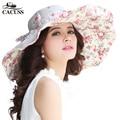 Cacuss casquillo de las mujeres del verano flores sunhat estilo elegante playa femenino sombrero para el sol Sombrero de Ala Ancha Gorra Plana Para Las Señoras Shading Informal sombreros