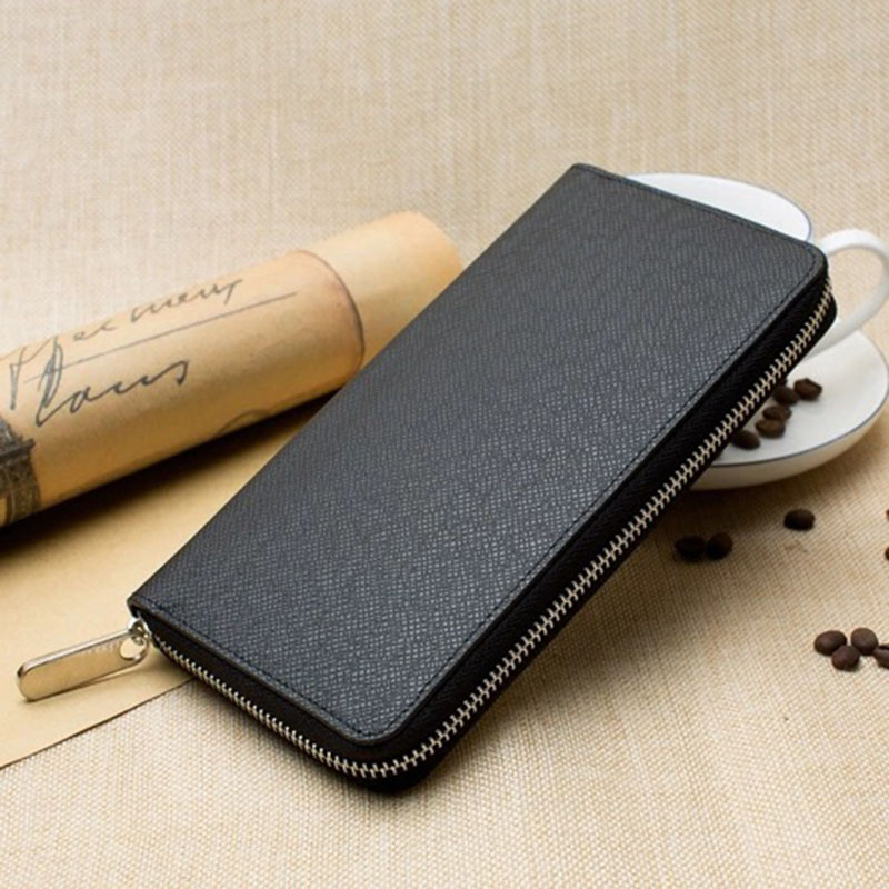 New Wallet Men Long Purse Men's Clutch Bag Zipper Business Card Holder Vintage Male Coin Purse High Quality Cross Pattern Wallet(China)