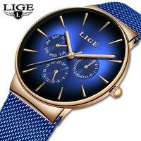 2019 LIGE Men Watch Top Brand Luxury Mens Casual Waterproof Ultra Thin Date Quartz Watch For Men Sports watches Relojes Hombre