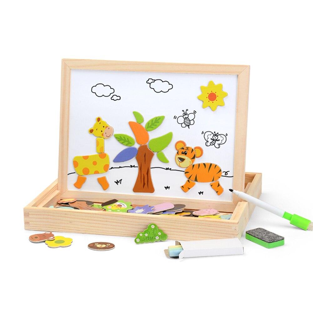 100 pces magnético quebra-cabeça figura/animais/veículo/circo trupe quadro 5 estilos puzzle caixa de madeira brinquedo presente do bebê adesivo