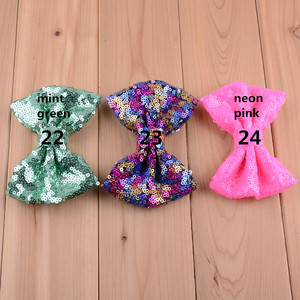 24C 42pcs/lot 4.3 Inch Bows For Kids Hair Beauty Luxurious Sequin Bowknot No Clip Girls Apparel Accessory Head Flower HDJ23