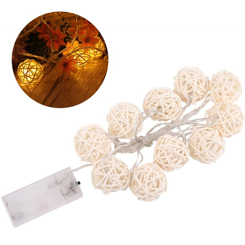 1.5M 10 LED Rattan Ball LED String Lights Battery Powered Decorative Fairy Lights for Christmas Wedding Decoration