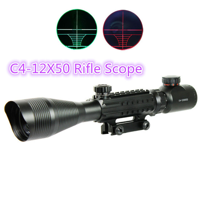 Airsoft C4-12X50 Tactical Optical Rifle Scope Red Green Dual illuminated w/ Side Rails & Mount Hunting airsoft c4 12x50 tactical optical rifle scope red green dual illuminated w side rails