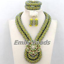 Elegant African Costume Jewellry Set 2015 Handmade Crystal Beads Set Nigerian Wedding Bridal Jewelry Set Free Shipping AEJ706