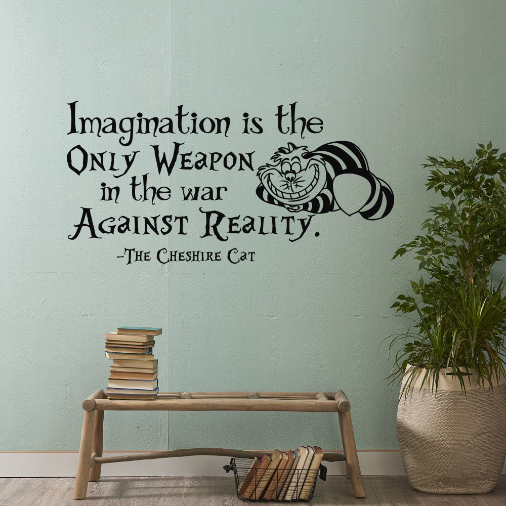 online buy wholesale imagine wall sticker from china imagine wall alice in wonderland wall stickers imagination isthe only weapon in the war against reality quote living