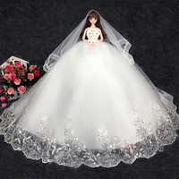 High Quality Pure White Formal Wedding Noble Dress Evening Dress Lace Barbieed Doll Toys For Kids