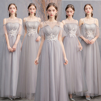 Gray Lace Long Sisters regiment Dress Princess Dress Women Long Traditional Chinese Dress Evening Gown Party Dresses