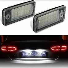2 uds., luz de matrícula impermeable 18 LEDs para Audi A3 A4 A5 A6 A8 B6 B7 Q7, lámparas de LED para placa de matrícula blancas para coche