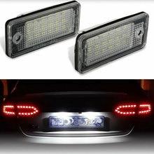 2pcs עמיד למים 18 נוריות מספר צלחת אור לאאודי A3 A4 A5 A6 A8 B6 B7 Q7 לבן רכב LED מספר רישיון צלחת מנורות