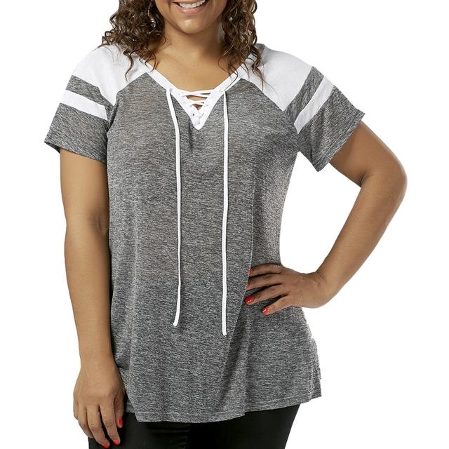 CharMma Women Plus Size Lace Up T-Shirt Raglan Short Sleeve V-Neck Female Casual Tees Tops Women Basic Tops Large Size XL-5XL