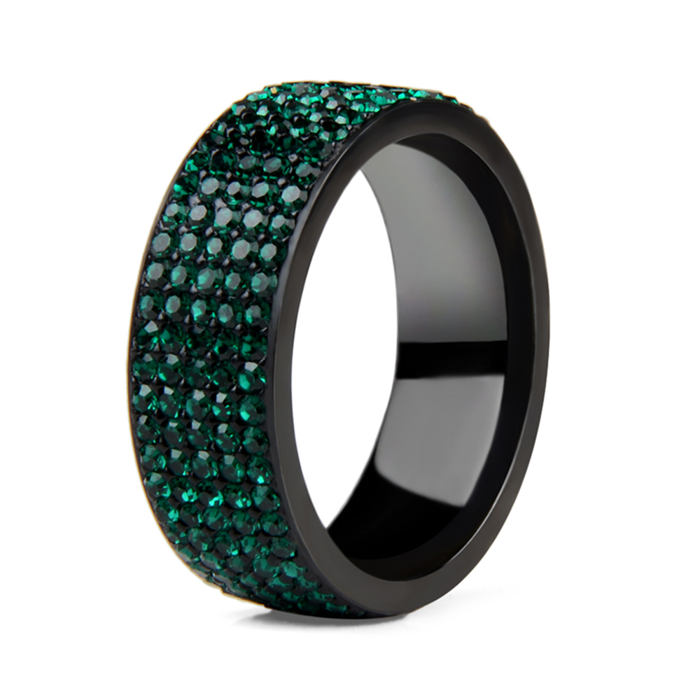 High Quality Punk Rock Stainless Steel Black Ring Men Blue Red Green Crystal Ring For Women Wedding Ring Jewelry 6 7 8 9 10 11 4