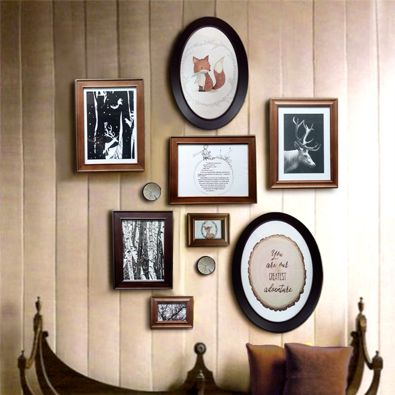 Zzm Photo Frames Black Round Wall Home Photo Frame Diy Hanging