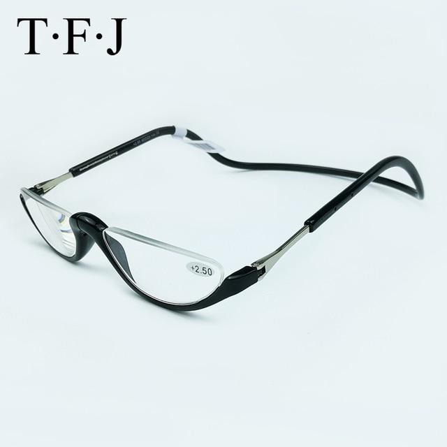 Unisex Half Rimless Magnetic Folding Readers Reading Glasses +1.0 1.5 2.0 2.5 3.0 Adjustable Neck Hang Eyeglass Plastic magnet