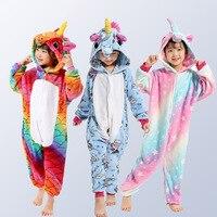 2019New Unicorn Pajamas for Boys Girls Animal Pegasus Unicorn Cosplay Kids Pijamas Onesies Winter Children Sleepwear4 12 Years