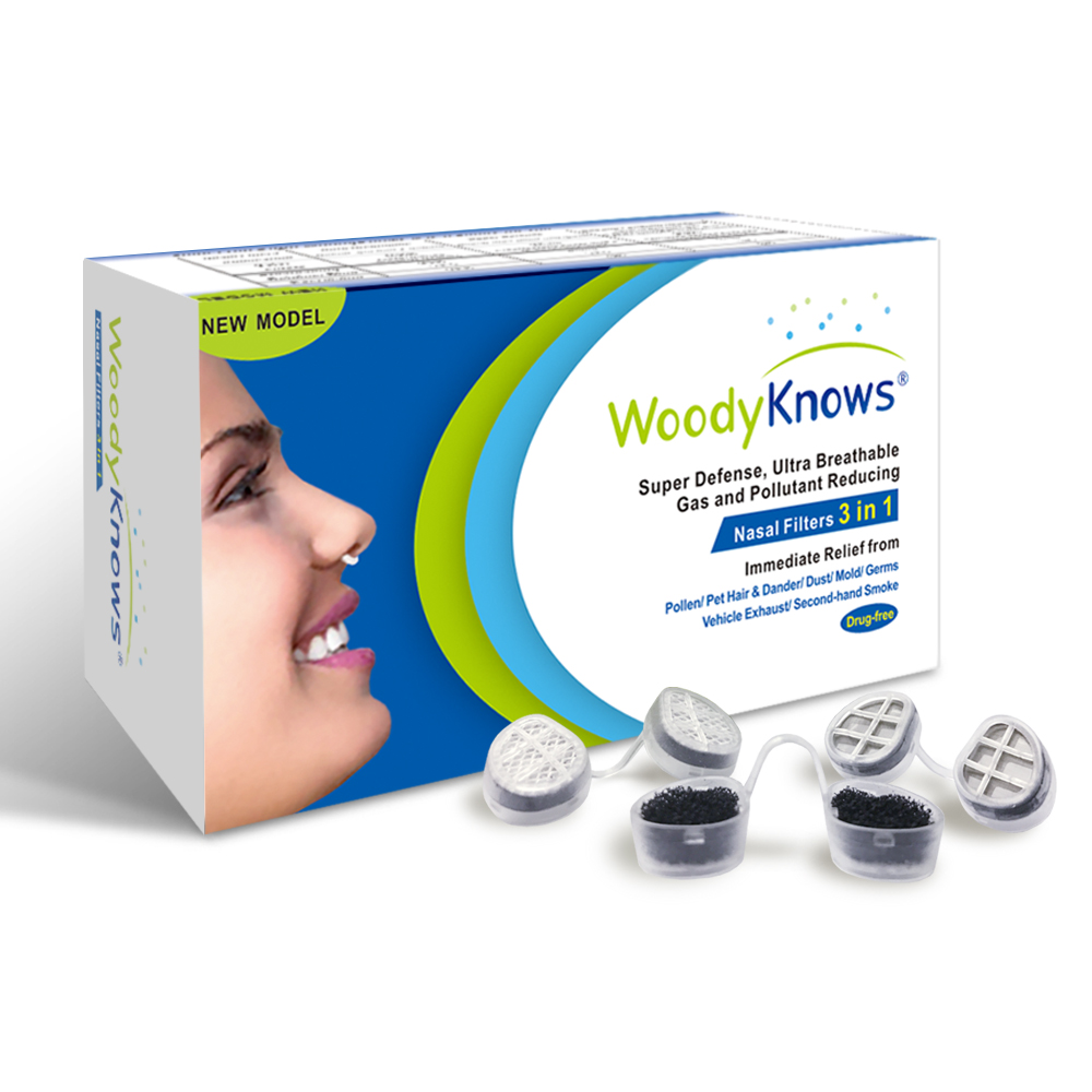 WoodyKnows 3 in 1 Nose Nasal Filters, Combines Super Defense, Ultra Breathable and Gas & Pollutant Reducing Nasal Filters woodyknows super defense nasal filters 2nd generation nose masks pollen allergies dust allergy relief no pm2 5 air pollution