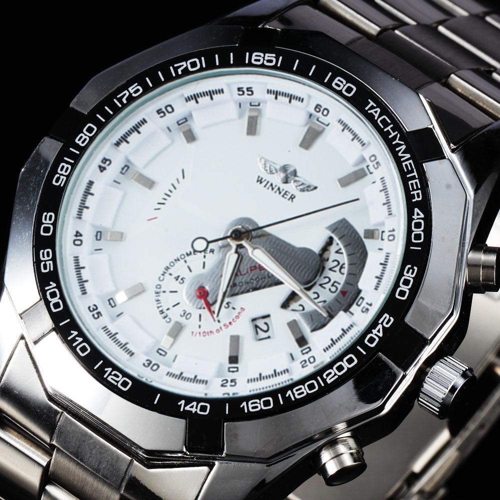 Luxury Brand Winner Men Watch Classic Stainless Steel Automatic Self Wind Skeleton Mechanical Watches relogio masculino mce automatic watches luxury brand mens stainless steel self wind skeleton mechanical watch fashion casual wrist watches for men