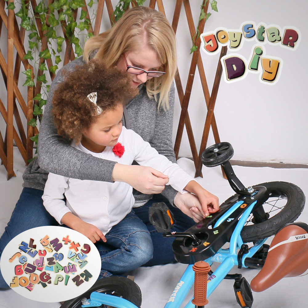 12 Inch Kids Bike Totem DIY Blue Steel Kids Bike DIY Sticker Kids Bicycle with Detachable Training Wheels and Bell