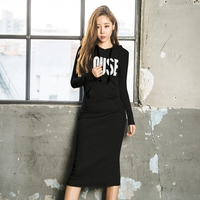 Autunm Winter Fashion Plus Velvet Thicken Cotton Slim Dress Casual Letters Printed Basic Long Dresses Hooded