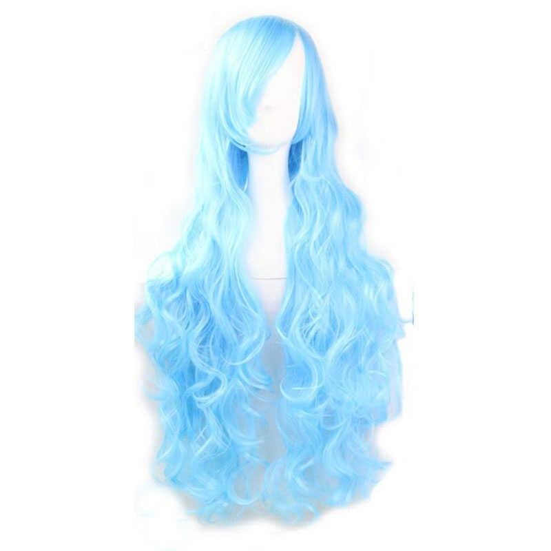 Gorra para el cabello + Peluca de Cosplay de zafiro sintético azul de onda de cuerpo larga Natural de la parte lateral del Hada del invierno para fiesta