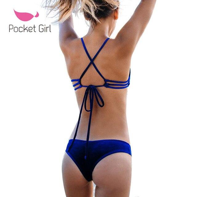 d57cfa6590 2017 New Sexy Micro Bikinis Women Swimsuit Velvet Swimwear Halter Brazilian  Bikini Set Beach Bathing Suits