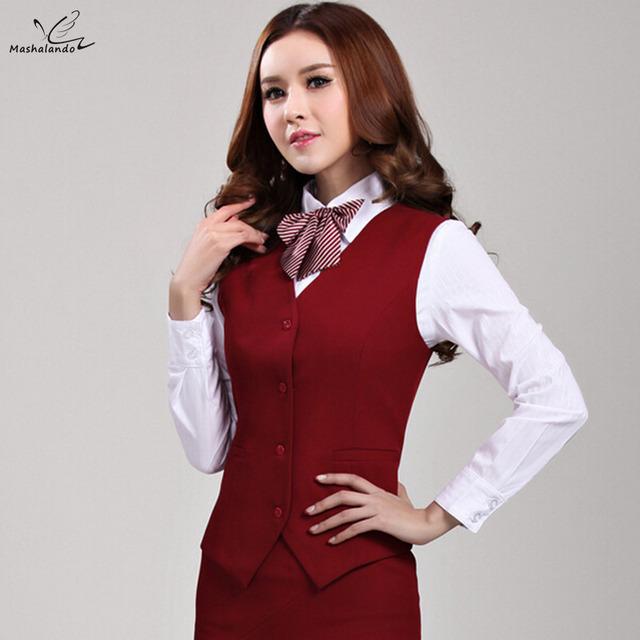 2016 carrera de negocios de Lujo de las señoras uniformes ropa de trabajo chaleco Delgado Cuello En V chaquetas Formales de oficina para las mujeres capa del chaleco más tamaño