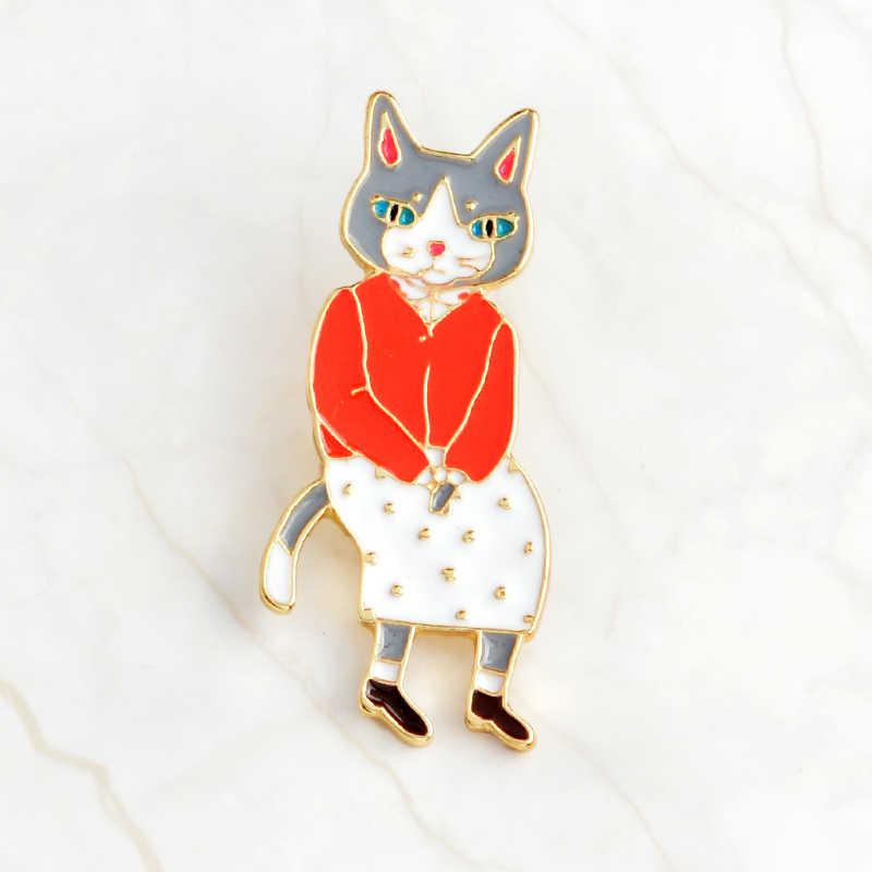Мультфильм животное кошка котенок кролик брошь Лисичка шпильки Эмаль Булавка значок джинсовая куртка значок на воротник бижутерия подарок