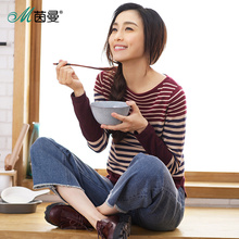 INMAN Women 2017 Autumn NEW All-match  Casual O-Neck Striped Pullover Sweater Long Sleeve Autumn Knitting Tops
