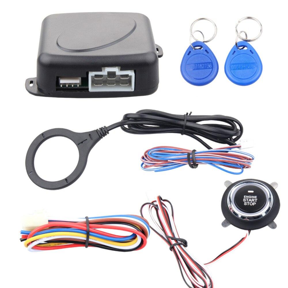 Kit d'alarme de voiture de qualité 125 KHZ RFID apprentissage du code avec bouton d'arrêt de démarrage du moteur, immobilisateur de transpondeur et auto-réarmement