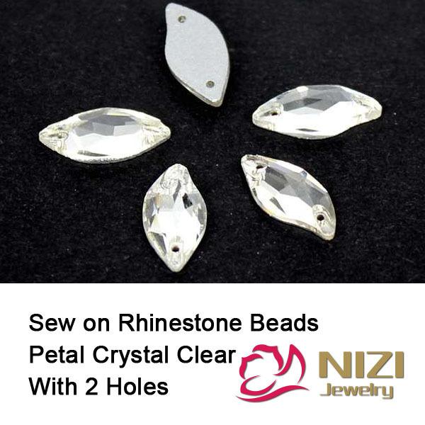 14x30mm 9x20mm Flatback Perlas Pétalo Crystal Clear Glass Beads Cose en Cuentas de BRICOLAJE Para Vestido de novia Rhinestone Alto Brillo Cuentas