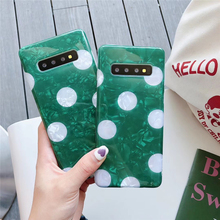 Green Marble TPU Soft Case For Samsung Note 8 9 S8 S9 S10 Plus Crystal Crack White Wave Dot Pattern Phone Cover Girls