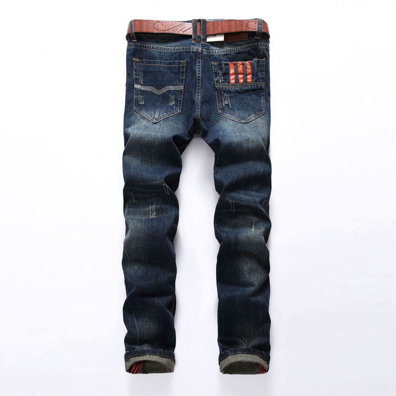 Hot Sale Fashion Men   Jeans   Dsel Brand Straight Fit Ripped   Jeans   Italian Designer 100% Cotton Distressed Denim   Jeans   Homme