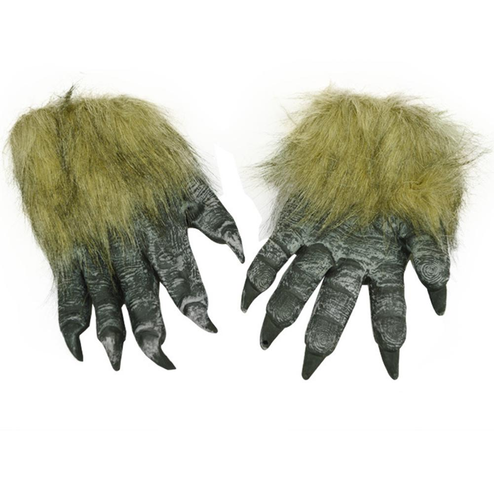 Missky 1pair Wolf Paw Design Gloves Halloween Cosplay Masquerade Party Scary Toy Supplies Decor Accessory High Quality Men's Gloves