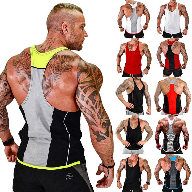 ZOGAA Men Quick-drying Tank Top Mens Sports Vest Stitching Absorbent Fitness for Gym