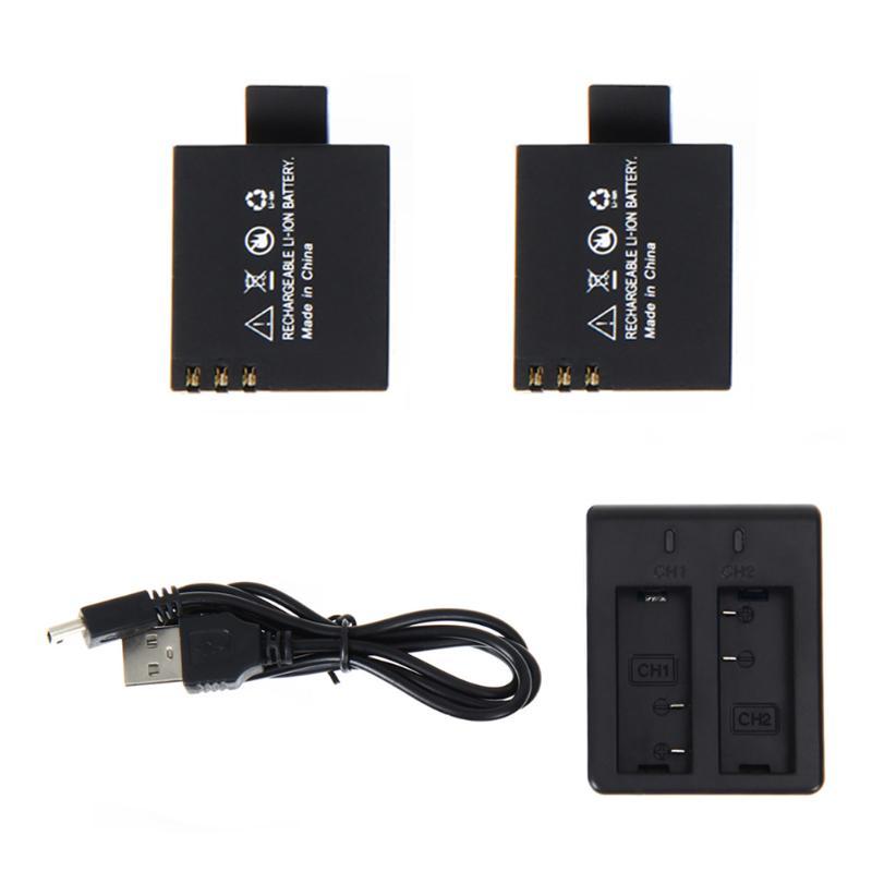 2 x 3.7V 900mAh Li-ion Battery Pack Kit Rechargeable For Action Sports Camera DVR SJ4000 SJ5000 Camera Dual Charger