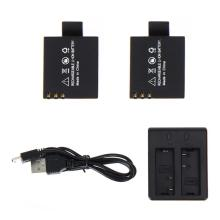 2 x 3.7V 900mAh Li-ion Battery Pack Kit Rechargeable For Action Sports Camera DVR SJ4000 SJ5000 Camera Dual Charger
