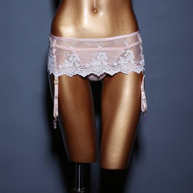 Rendas Bordado Rosa Garter Cintos Para As Mulheres Cintos Suspender 4-strap Chicote De Volta no Corpo Erótico Embrance Vestido Garter Nupcial