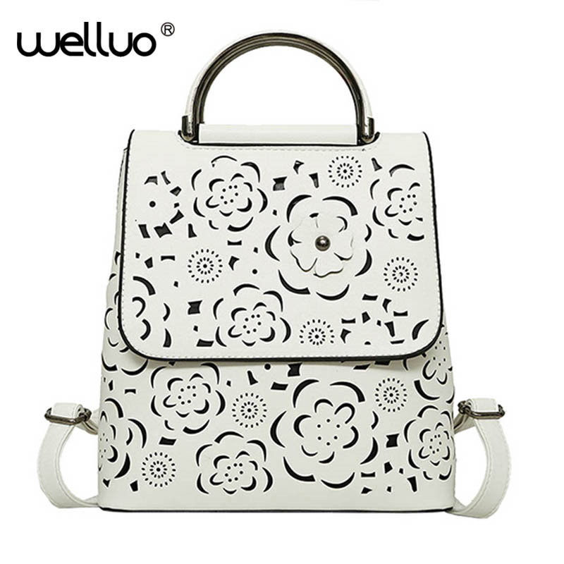 Floral Hollow Women Backpack Retro Shoulder Bag Quality PU Leather Backpack Female Teenage Girls Large Capacity