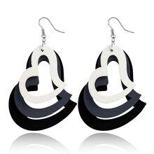 Boho Three layers Wooden Heart Earrings For Women