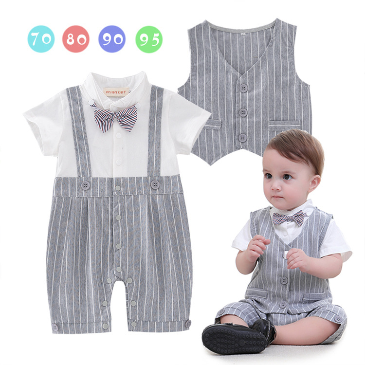 Summer Baby Kids Boys gentleman jumpsuit Jumper Short sleeved baby clothes + vest Two-piece Kids