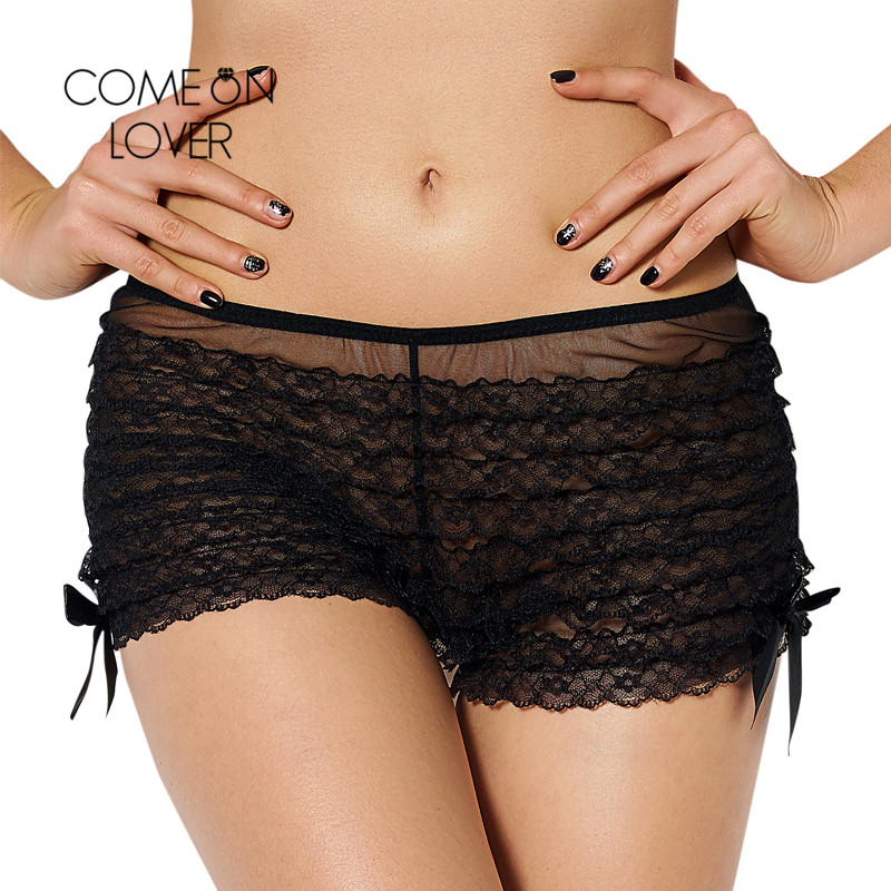 PI5077 Comeonlover Sexy Lace Boyshort Panties Transparent 3 Color Sexy Woman Underwea Panties Plus Size Panties Sexy Boxer Femme