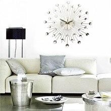 Charminer Metal Wall Clock Fashion Modern Decoration Clock With Rhinestones Fashion Luxury Living Room Art Clock Silver
