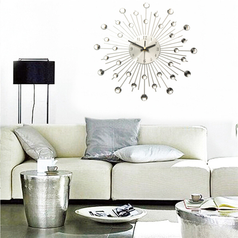Charminer Metal Wall Clock Fashion Modern Decoration With Rhinestones Luxury Living Room Art